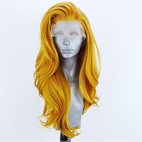 tienda de bajo costo Moda Cosplay Cosplay Cosplay peluca para las mujeres de encaje frente pelucas Natural Look Bright amarillo rizado largo ondulado sintético fibra resistente al calor para fiesta vestido de lujo Halloween 24inch  tienda de ventas outlet