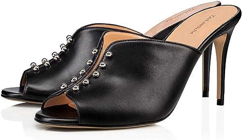 Elobaby damen Sandalias De Cuero Peep Toe Vestido al Aire Libre schwarz De Gran Tamaño Tacones Altos Calf Flat Low Heel Größe 34-46