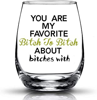 JERIO You're My Favorite, Best Friend Gifts for Women Funny BFF Birthday Gift Idea Girls Bachelorette Party Presents 15 oz Stemless Wine Glass