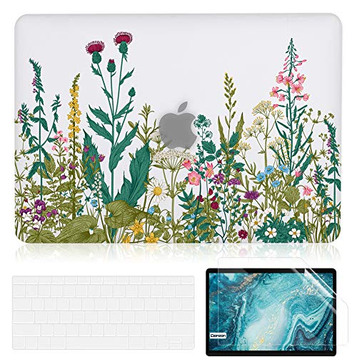 iDonzon MacBook Pro 13 inch Case A1502 A1425 2012-2015 Release, Matte Clear Hard Cover & Transparent Keyboard Cover & Screen Protector Compatible with Mac Pro 13.3 inch with Retina Display - Flowers