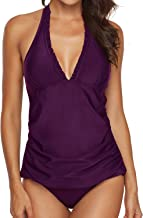 AnnJo Two Piece Swimsuit Sexy V-Neck Ruffle Halter Backless Flyaway Tankini Suit