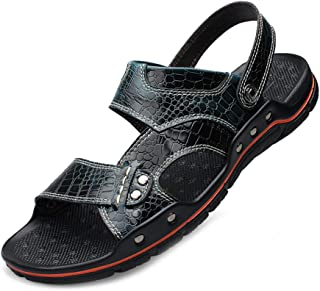 AUCDK Men Buckle Leather Sandals Back Strap Summer Slippers Walking Open Toe Sandals Outdoor Sports Slippers