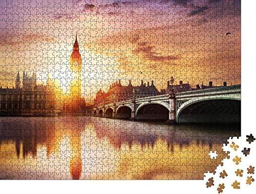 Classique Puzzle Jouet Adultes Jigsaw Big Ben et le pont de Westminster au crépuscule, Londres, Royaume-Uni - Puzzle classique Cadeau de vacances-300 Pièces