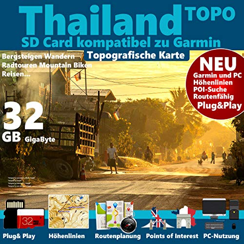 ★Thailand Topo GPS Karte microSD Card für Garmin Navi, PC & MAC für Garmin Navigationsgeräte ★
