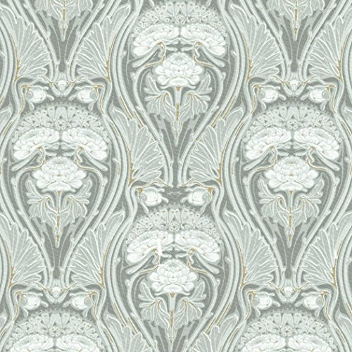 Baumwollstoff | 'Beauclair' Art Nouveau / Jugendstil Stoff - Luxuriöse Grautöne und Silber,...
