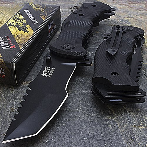 9' M-Tech G10 Tracker Spring Assisted Open Folding Pocket Outdor Knife Tactical Rescue Combat