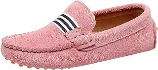rismart Mocasines Niña Chico Colegio Trenza Ponerse Ante Cuero Casual Zapatos