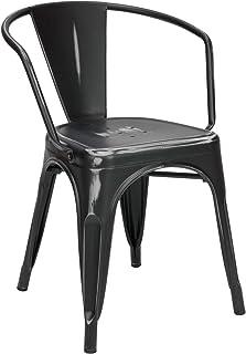 Vaukura Silla Tolix con Brazos - Silla Industrial Metálica Vintage (Negro)