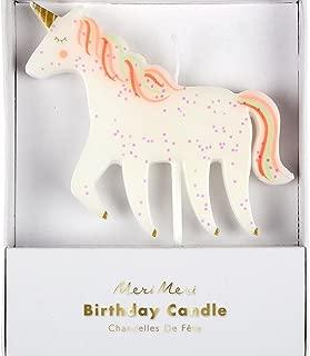 Meri Meri Unicorn Glitter Candle - Birthday Party Decorations - Unique Party Accessory
