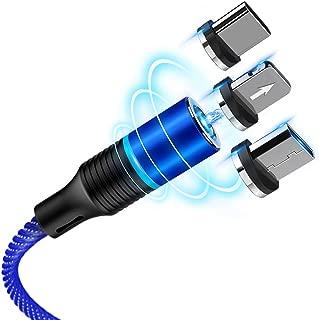 CAFELE マグネット 充電ケーブル iPhone/Android/Type-Cケーブル3in1ケーブル LEDランプ付き 360度回転 高耐久ナイロン編み 磁石 防塵 着脱式 MicroUSB+Lightning+Type-Cに対応 2m (ブルー)
