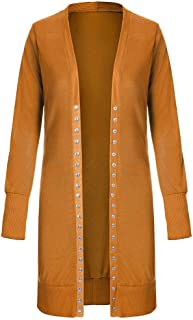 RkYAO Womens Button Down Solid Top Coat Mid Long Long Sleeve Stylish Cardigan