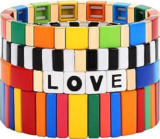 PHALIN Tile Bracelet Set Multicolored Enamel Tile Bead Stretch Bracelets for Women Rainbow Stackable Love Letter Beaded St...