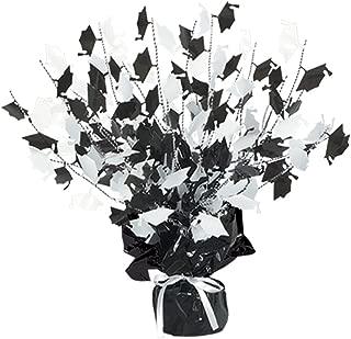 Graduation Cap Gleam 'N Burst Centerpiece 15in.,black & white, Pkg/12