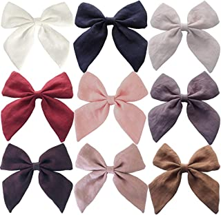 Mary Paxton 9PACK Linen Fabric Bows,Hair bow Hair Clips Hair Barrettes Baby Girls Women Hair Accessories Headwear Infant T...