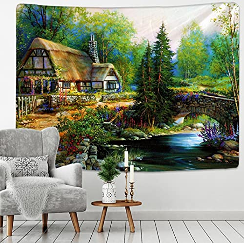 200x150cm hogar cuento de hadas cabaña bosque tapiz colgante de pared bohemia arte impresión tapiz habitación decoración del hogar patrón hippie