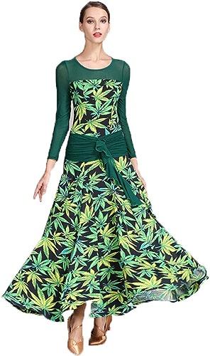 WSJS Robes de Danse pour Femmes louanges lyriques Danse Nouveau Style Jupe d'expansion Feuilles Vertes d'impression Maxi Longueur Plus Taille Adulte Ballet Dames Dame Tango Valse