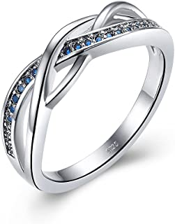 Solid 925 Sterling Silver Ring for Women Celtic Jewelry with Blue Sapphire Birth Stone