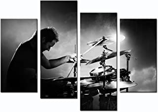 sechars - 4 Piece Canvas Wall Art Music Painting Black and White Rock Band Picture Canvas Prints Drums Poster Framed for Modern Home Office Living Room Bedroom Decor Framed Ready to Hang Gift for Men