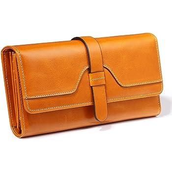 Portefeuille Femme RFID Blocage Cuir Véritable, Porte Monnaie Femmes Elégant Grande Capacité, Purse Wallet Portefeuille pour Compagnon Cadeau[18.8 x 9.5 x 3.5 cm]