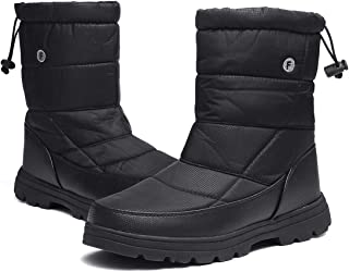 gracosy Winter Snow Boots for Women Men, Ankle Bootie Short Warm Booties Outdoor Waterproof Mid Calf Boots with Fur Lining Lace up Winter Shoes