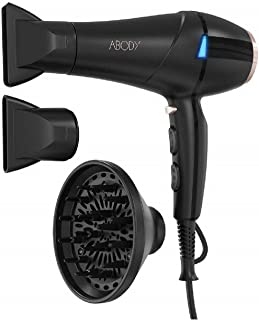 Hair Dryer ABODY 1875W Negative ions Professional Ionic Blow Dryer Powerful with Concentrators & Diffuser for Home and Salon Styling 2 Speed 3 Heat Settings - Black