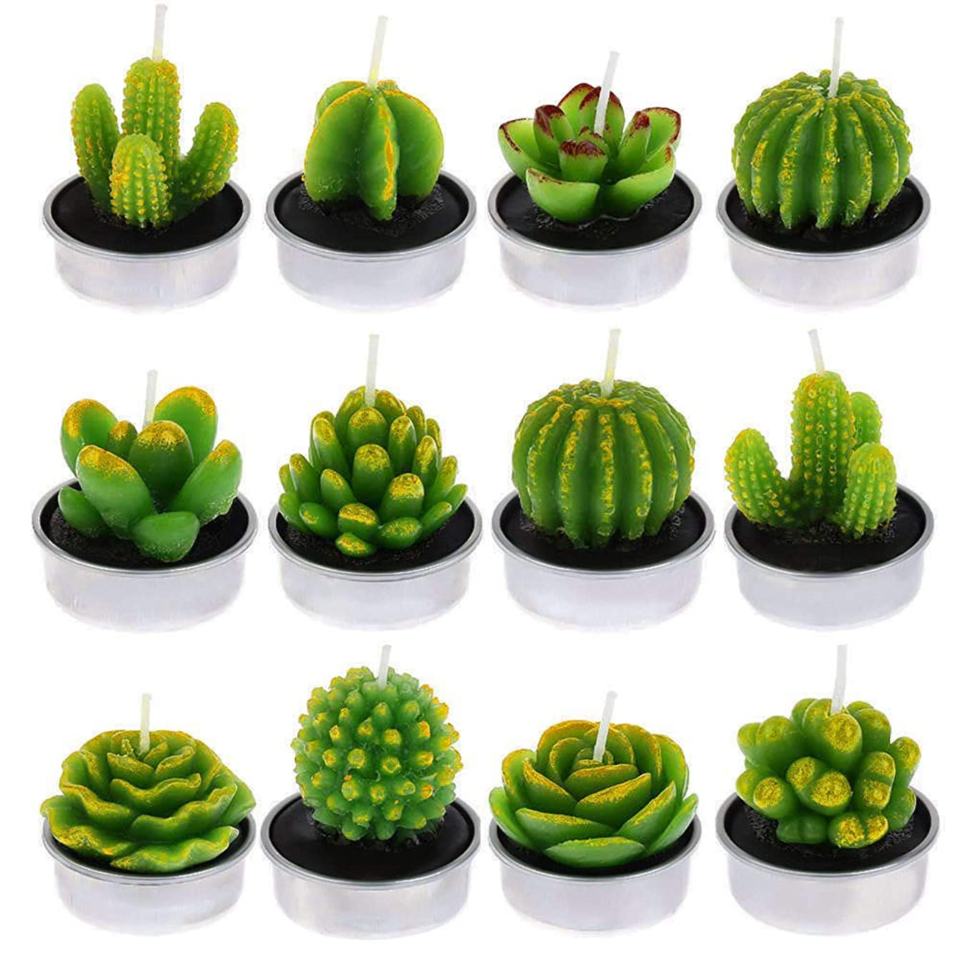 DaveandAthena 12 Pieces Cactus Tealight Candles Handmade Delicate Succulent Cactus Candles for Birthday Party, Wedding, Spa, Home Decoration (Style 2)