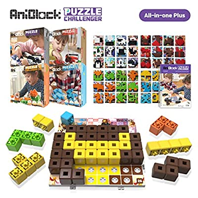 AniBlock Puzzle Challenger - Fun and Creative Shape Blocks STEM Toys for Kids, Boys and Girls, Ages 4 and Up, App Supported Interactive Augmented Reality Brain Games, All-in-One Plus Pack from Pacoware Inc