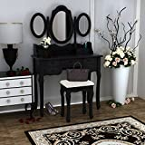 Shabby Chic White Dressing Table with 3 Oval Mirror and Stool <span class='highlight'>Bedroom</span> Vanity Dresser Sets,7 Storage Drawers Make Up Desk (Black)