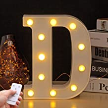 Youzone LED Marquee Letter Lights Alphabet Light Up Sign with Remote Control Timer Dimmable (D)