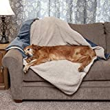Furhaven Pet Dog Bed Blanket - Snuggly and Warm Faux Lambswool and Terry 100% Waterproof Insulated Thermal Self-Warming Pet Bed Throw Blanket for Dogs and Cats, Cozy Denim, Extra Large
