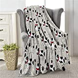 Colla Cute Dog Blankets for Boys Girls, Lightweight Soft & Fuzzy Flannel Plush Kids Throw Blankets for Couch Bed Sofa Travel 50X40 Inches