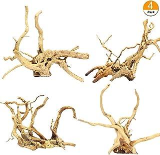Tfwadmx Aquarium Driftwood Natural Wood Reptile Branch Fish Tank Tree Plant Stump Ornament Decor 4 PCS