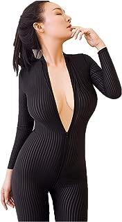Sheer Opaque Long Sleeve Front Zip Vertical Stripes Zentai Catsuit Cosplay Bodysuit Night Club