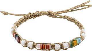 BlueRica Hemp Anklet Bracelet with Puka Shells /& Multi Glowbeads