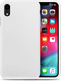 Compatible with Apple XR Liquid Silicone Phone Case Gel Rubber Full Body Protection Shockproof Cover Case Drop Protection for Apple iPhone XR White