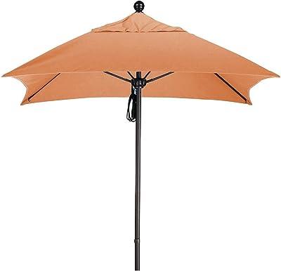 California Umbrella ALTO604117-5417 Aluminum Push Open, Bronze Pole and Sunbrella Tuscan Umbrella, 6' Square