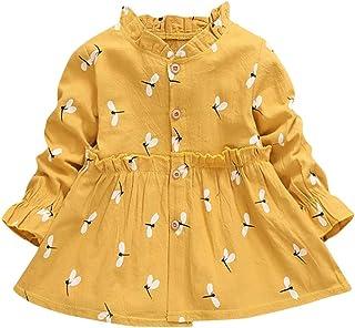 NHNX Kinder Baby Mädchen Libelle Print Kleider Blumen Langarm Geraffte Prinzessin Kleid Freizeitkleidung Kinder Elegant Blume Dress Frühling Sommer Kleid Freizeitkleid, Gelb Rosa Lila, 1-5 Jahre
