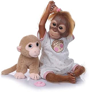 Anano Reborn Monkey Doll Realistic Looking Cloth Body Reborn Baby Doll 20 Inch Best Gift Sets for Kids 3+