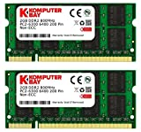 Komputerbay 4GB Kit (2GBx2) DDR2 800MHz (PC2-6400) CL6 SODIMM 200-Pin 1.8v Notebook Laptop Memory Modules with Lifetime Warranty