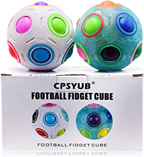 CPSYUB Rainbow Magic Ball Cube 2 Pack Magic Rainbow Ball Fidget Sensory Ball Brain Teasers Games for Puzzle Bundle Stress Fidget Toys for Kids or Adults