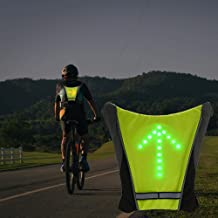 LED Turn Signal Safety Vest with Direction Indicator, USB Charging & Adjustable Bike Pack Accessory Guiding Light for Nigh...