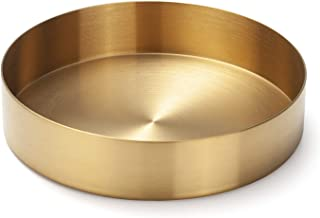 Wekee Gold Stainless Steel Round Jewelry and Make up Organiser/Candle Plate Decorative Tray, stainless_steel, Gold, 5.5 in...