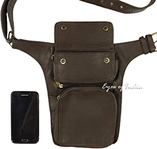 Eyes of India - Brown Leather Belt Waist Hip Bum Bag Pouch Fanny Pack Utility Pocket Travel