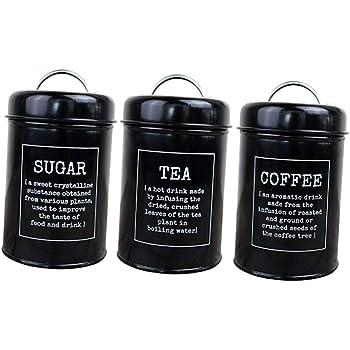 biscotti e pane con coperchio in legno zucchero EHC 5 contenitori per t/è caff/è colore: nero