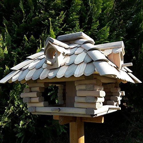 Desing Vogelhaus Handarbeit Vogelhäuschen Futterhäuser Futterhaus Nistkasten imprägniert / lasiert (Grau / Braun)