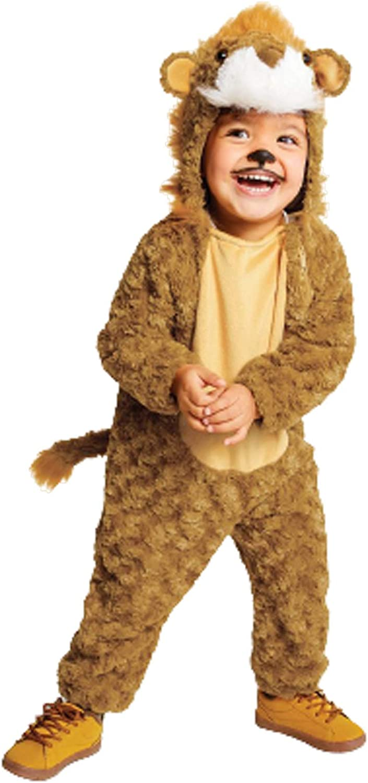 Unisex Toddler Plush Lion Head Sleeper Cozy Jumpsuit Tan