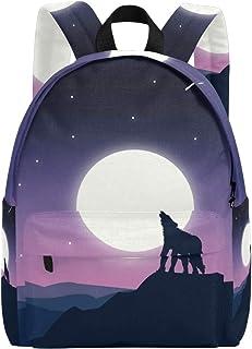 MALPLENA - Mochila de Viaje para Hombre, diseño de Lobo bajo la luz de la Luna