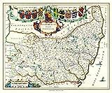 Baby Spielzeug Rompecabezas de 1000 piezas - Mapa de Suffolk de Johan Blaeu 1648 del Atlas Novus