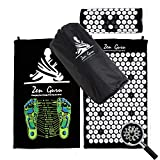 ZenGuru Best Acupressure Mat & Pillow Set - Sale - Effective Remedy for Pain and Stress Relief - with Magnet Therapy - Free Bonuses: Carry Bag & Reflexology Foot Chart - Lifetime Money Back (Black)