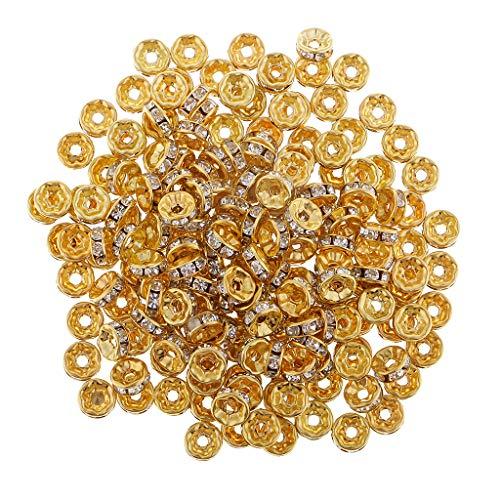 Bonarty 200 Piezas de Cuentas Espaciadoras de Cristal Dorado en Tono Dorado para Hacer Joyas de 8 Mm